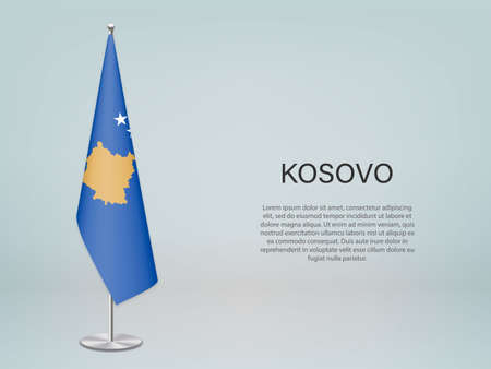 Kosovo hanging flag on stand. Template for politic conference banner Vector Illustratie