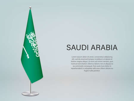 Saudi Arabia hanging flag on stand. Template for politic conference banner Vector Illustratie
