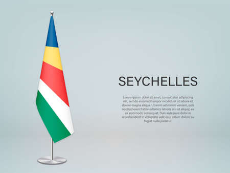 Seychelles hanging flag on stand. Template for politic conference banner