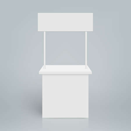 White blank trade show booth. Round promo stand
