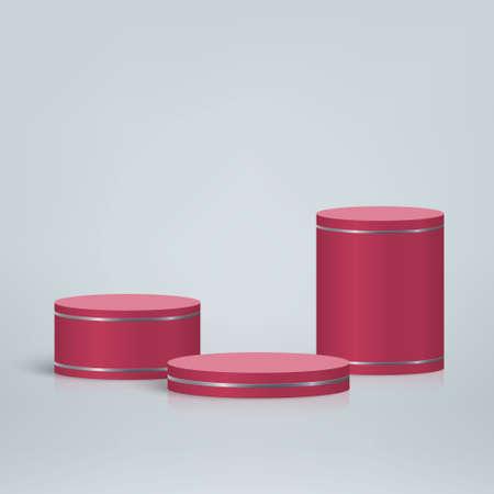 3d minimal scene with podium, Cosmetic product presentation mockup background 向量圖像