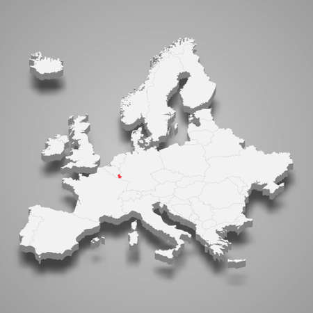 Luxembourg country location within Europe 3d isometric map