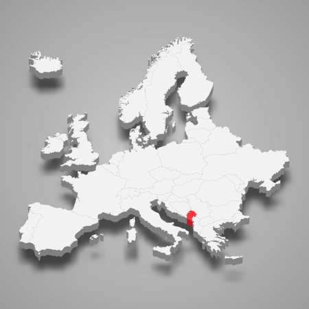Montenegro country location within Europe 3d isometric map