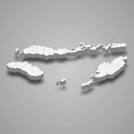 3d isometric map of East Nusa Tenggara is a province of Indonesia, vector illustration