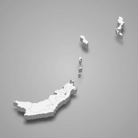 3d isometric map of North Sulawesi is a province of Indonesia, vector illustration