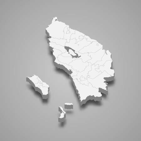 3d isometric map of North Sumatra is a province of Indonesia, vector illustration