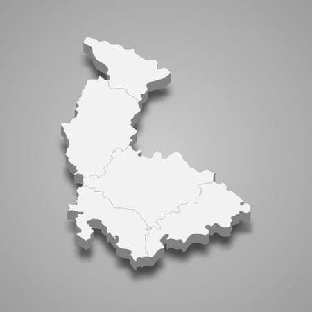 3d isometric map of Olomouc is a region of Czech Republic, vector illustration 矢量图像
