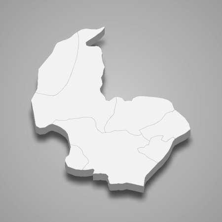 3d isometric map of Osmaniye is a province of Turkey, vector illustration 矢量图像