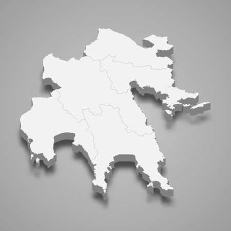 3d isometric map of Peloponnese is a region of Greece, vector illustration