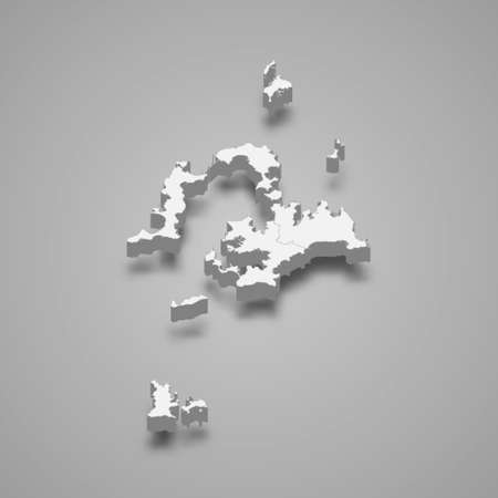 3d isometric map of Penghu County is a region of Taiwan, vector illustration