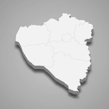 3d isometric map of Plzen is a region of Czech Republic, vector illustration 矢量图像