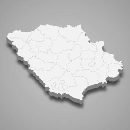 3d isometric map of Poltava oblast is a region of Ukraine, vector illustration