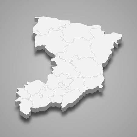 3d isometric map of Rivne oblast is a region of Ukraine, vector illustration 矢量图像