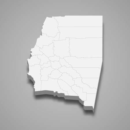 3d isometric map of Santiago del Estero is a province of Argentina, vector illustration 矢量图像