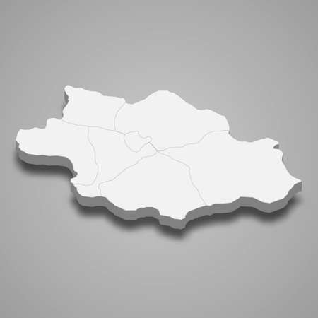3d isometric map of Siirt is a province of Turkey, vector illustration