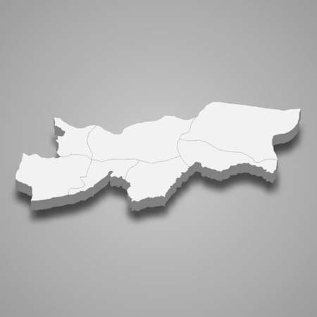 3d isometric map of Sirnak is a province of Turkey, vector illustration