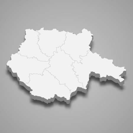 3d isometric map of South Bohemia is a region of Czech Republic, vector illustration 向量圖像