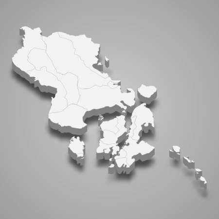 3d isometric map of Southeast Sulawesi is a province of Indonesia, vector illustration