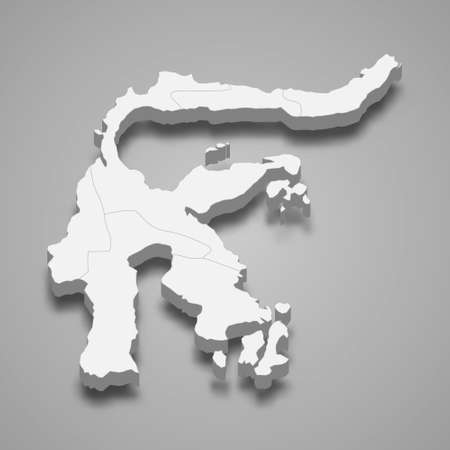 3d isometric map of Sulawesi is a island of Indonesia, vector illustration