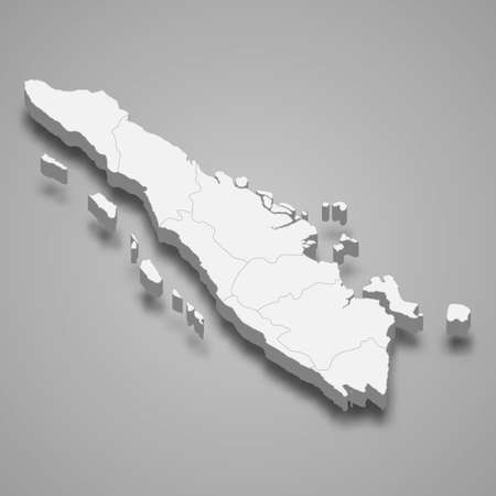 3d isometric map of Sumatra is a island of Indonesia, vector illustration