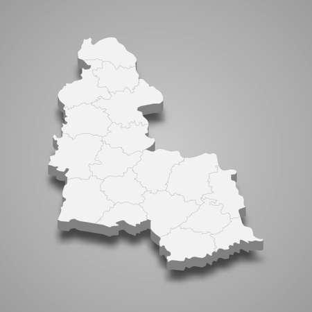3d isometric map of Sumy oblast is a region of Ukraine, vector illustration 矢量图像
