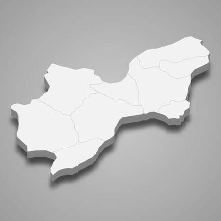 3d isometric map of Tekirdag is a province of Turkey, vector illustration
