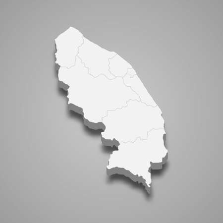 3d isometric map of Terengganu is a state of Malaysia, vector illustration 矢量图像