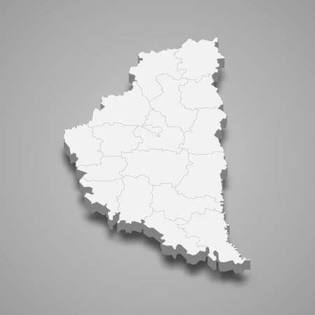 3d isometric map of Ternopil oblast is a region of Ukraine, vector illustration