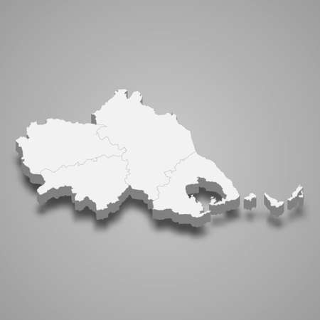 3d isometric map of Thessaly is a region of Greece, vector illustration 矢量图像