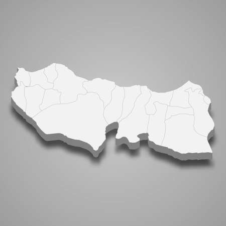 3d isometric map of Trabzon is a province of Turkey, vector illustration