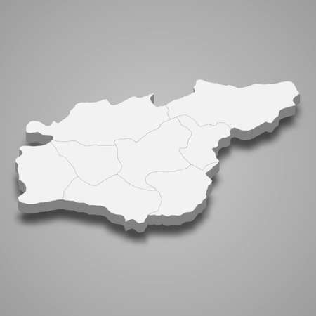 3d isometric map of Tunceli is a province of Turkey, vector illustration