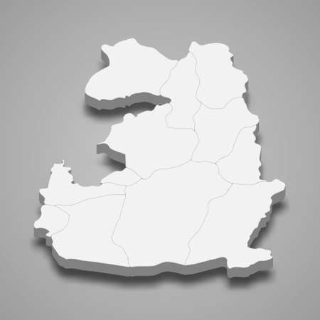 3d isometric map of Van is a province of Turkey, vector illustration