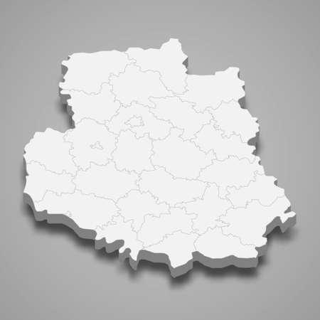 3d isometric map of Vinnytsia oblast is a region of Ukraine, vector illustration