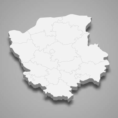 3d isometric map of Volyn oblast is a region of Ukraine, vector illustration