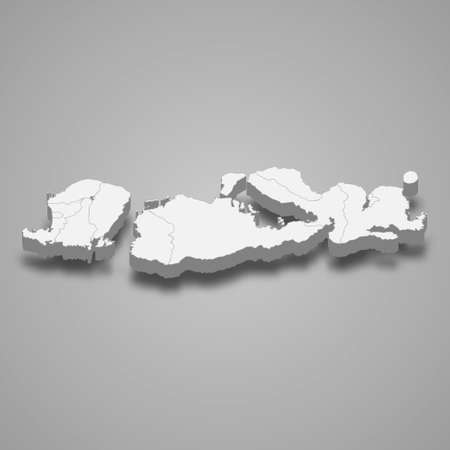 3d isometric map of West Nusa Tenggara is a province of Indonesia, vector illustration