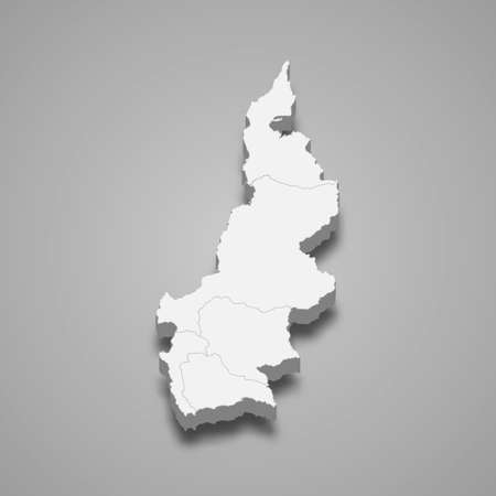 3d isometric map of West Sulawesi is a province of Indonesia, vector illustration