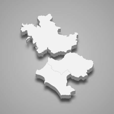 3d isometric map of Western Greece is a region of Greece, vector illustration
