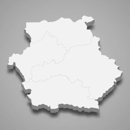 3d isometric map of Western Macedonia is a region of Greece, vector illustration