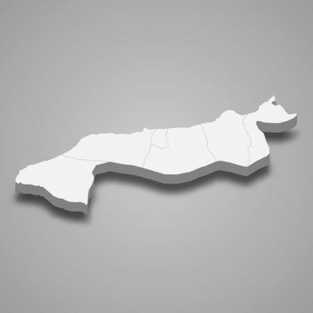 3d isometric map of Yalova is a province of Turkey, vector illustration