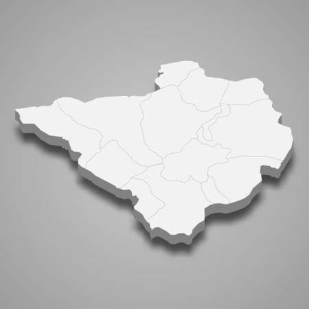 3d isometric map of Yozgat is a province of Turkey, vector illustration 矢量图像
