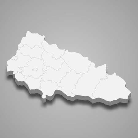 3d isometric map of Zakarpattia oblast is a region of Ukraine, vector illustration 矢量图像