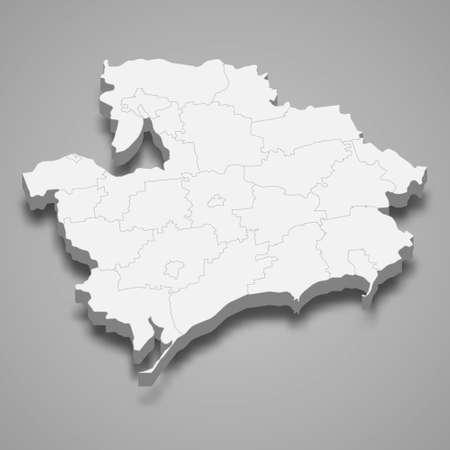3d isometric map of Zaporizhzhia oblast is a region of Ukraine, vector illustration