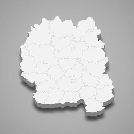 3d isometric map of Zhytomyr oblast is a region of Ukraine, vector illustration