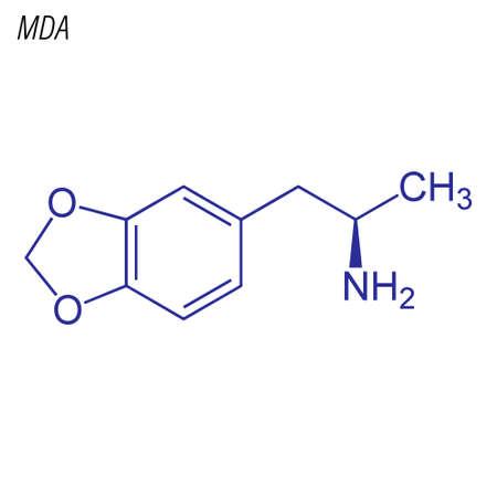 Skeletal formula of MDA. Drug chemical molecule.