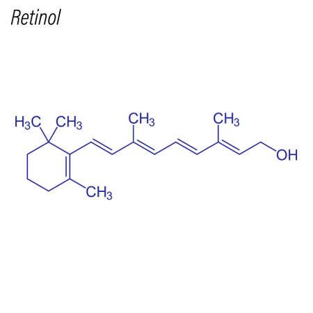 Skeletal formula of Retinol. Drug chemical molecule.