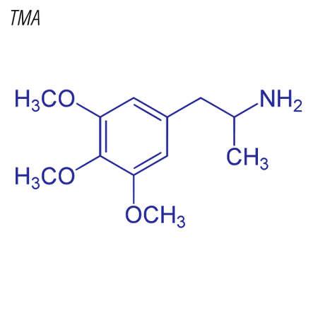 Skeletal formula of TMA. Drug chemical molecule.