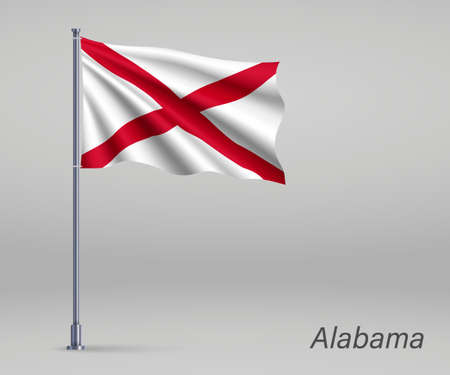 Waving flag of Alabama - state of United States on flagpole. Template for independence day poster