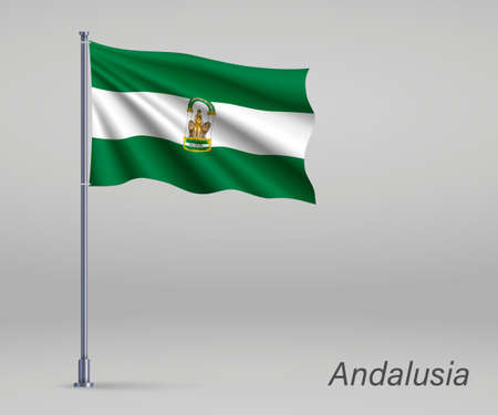 Waving flag of Andalusia - region of Spain on flagpole. Template for independence day poster