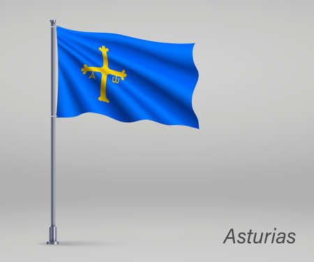 Waving flag of Asturias - region of Spain on flagpole. Template for independence day poster