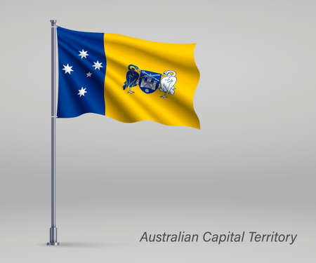 Waving flag of Australian Capital Territory - state of Australia on flagpole. Template for independence day